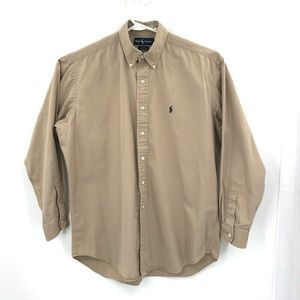 Ralph Lauren Blake Oxford Shirt Tan Button Cotton
